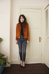 Abbey - Splendid Black Turtleneck, Shein Suede Jacket, Suzy Shier Blue Jeans, Steve Madden Suede Pumps - Ride