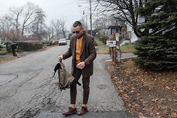 Kenneth Quinn - Theory Sweater, Paul Smith Blazer, Topman Pants, Target Bag, Penguin Dress Shoes - Dapper