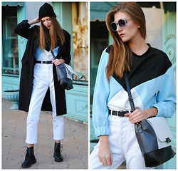 Yulia Sidorenko - Dealsale Sweatshirt, River Island Jeans, Claudia Strater Coat, H&M Beanie, Dresslink Bag, Bershka Belt, Modis Sunglasses, H&M Boots - Graphic sweatshirt