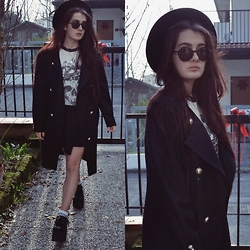 Anna Garavello - Thrifted Hat, Pimkie Round Sunglasses, Moon Necklace, Obey Skull Top, Thrifted Coat, H&M Skater Skirt, Essexglam Triple Sole Creepers - Round Sunglasses and triple sole