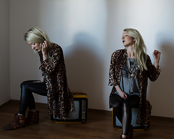 Annette Zer - Dressin Leopard Kimono, Dealsale Matte Leather Leggings, Dressin Silver Necklace, Zara Buckled Ankle Boots, Zara Grey T Shirt - God knew exactly what he was doing, when he led me to you