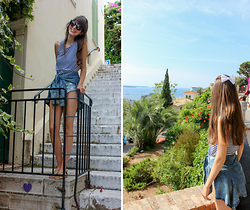 Marina Minassian - Monki Striped Top, H&M Shorts Jeans, American Apparel Lace - Cannes - France