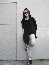 Monica W. - Zara Flats, Cross Jeans, Reserved Sunnies, Synthetic Black Hoodie - 100% SYNTHETIC
