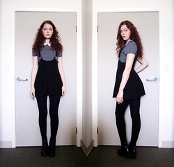 Raquel Teichroeb - Suzy Shier Peter Pan Collar Grid Top, H&M Pinafore, Vintage Boots - Rocky Raccoon