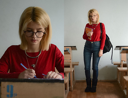 Vlada Kozachyshche - Soorty Jeans, Pull & Bear Sweater, Pull & Bear Backpack, Stradivarius Necklace, Dresslink Boots, Glasses - Real University Life