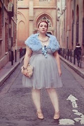 Audrey G. - Nine West Pale Blue Faux Fur Scarf, Little Mistress Tutu Dress, New Look Nude Heels, Asos Feather Clutch, Lotta Djossou Dragonfly Bracelet - Ice Dance