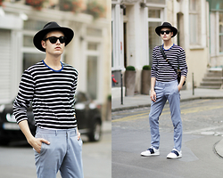 Patrick Pankalla - Mads Nørgaard Blouse, Zara Light Blue Trousers, H&M Fedora Hat, Valentino Open Sneakers, Kenzo Shoulder Bag, Ralph Lauren Sunglasses - In The Streets Of Paris