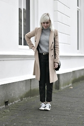 Merel - Zara Coat, Mango Turtleneck Knit, Mango Trousers, Converse Sneakers - I WON'T TAKE THE EASY ROAD