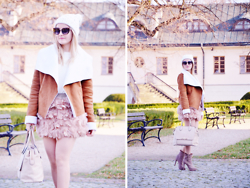 Sispolitan Lach - Sinsay Beanie, Shein Sheepskin Coat, Stradivarius Skirt, Kazar Bag, No Name Sweater, Stradivarius Shoes, Mango Sunglasses - Feathers in Winter