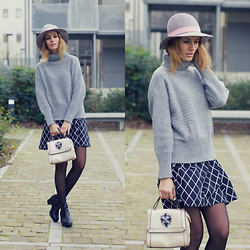 Ruxandra Ioana - Chicwish Sweater, Marie& Frisco Skirt, Relaxfeel Bag, Oasap Hat - Return of Grey