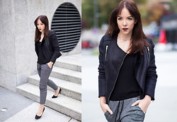 Silver Girl - Asos Black Fur Jacket, Asos Court Heels, Mango Joggers - IRONS IN THE FIRE