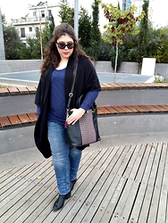 Despina Andreas - American Eagle Outfitters Top, American Eagle Outfitters Cardigan, H&M Boyfriend Jeans, H&M Shoes, Achilleas Accessories Bag, Atasay Necklace, Calvin Klein Sunglasses, Firmoo Eyeglasses - Something Blue...