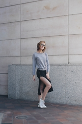 Hannah N - Forever 21 Grey Sweatshirt, H&M Navy Blue Skirt - Twelve