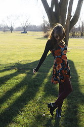Sarah Huff - Brandy Melville Usa Black Long Sleeve Shirt, Forever 21 Red Rose Skater Dress, Forever 21 Chain Boots - High of 55