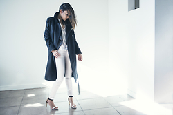 Courtney Y - Everlane The Black Wool Trench, Banana Republic Block Color Heels - The black trench