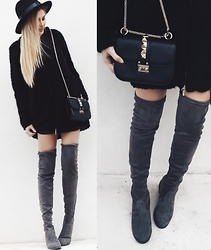 Cristina Musacchio - Lackofcolor Hat, Valentino Bag, Jessica Buurman Over The Knee Boots - Allblackeverything
