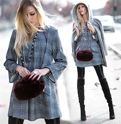 Dora D. - Street One Grey Wool Coat, Dania Moda Black And White Checkered A Lines Dress, Burgundy Faux Fur Hand Muff/Bag, Wilady Over Knee Boots - - retRomantic -