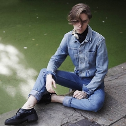 Mikko Puttonen - Celine Scarf, All Saints Jacket, H&M Jeans, Ash Footwear Shoes - BLUE DENIM | IG @mikkoputtonen