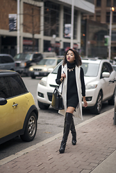 Jeannie Y - Zara Long Vest, B2 Knee High Boots, Style Moi Sweater Dress, Auxiliary Satchel - The Six