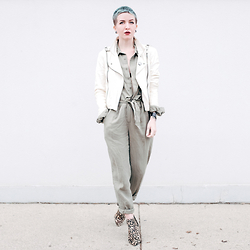 Jessie Bee - Minkpink Sinking Ships Boilder Jumpsuit, Nasty Gal White Leather Jacket, Report Signature Boots - Olive Jumpsuit