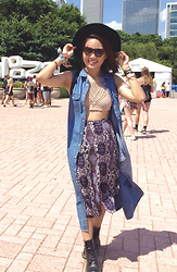 Erika R. - New Dress Crochet Top, Forever 21 Printed Midi Skirt, Forever 21 Oversized Denim Vest, Dr. Martens Black 1460s, H&M Suede Hat, Sunnies Studios Sunglasses - Let's Bring it Back