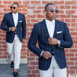Mr. Marquis - Navy Windowpane Blazer - Navy Windowpane Blazer