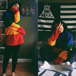 Gyanna Yumping - Unif Crayola Sweater, Topshop Leigh Jeans - UGH!