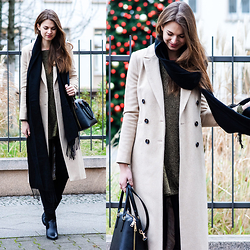 Jacky - Topshop Scarf, Topshop Coat, Glamorous Dress - Cosy Christmas Outfit