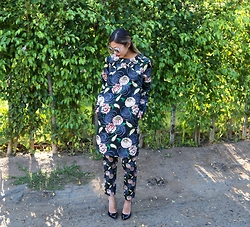 Emily Men -  - Floral Dress Over Pants