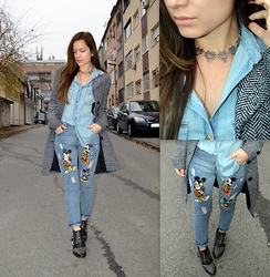 Marija M. - Mickey Mouse Jeans, Silver Chocker Necklace, Tally Weijl Ankle Boots, Pimkie Grey Coat, Chambray Shirt - Mickey mouse jeans