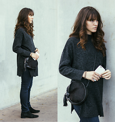 Tonya S. - High Slit Sweater, Calf Purse, Dark Denim - Longer Layers