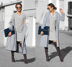 Queen Horsfall - Sheinside Shein, Christina Karin, Public Desire Over Knee Boots - Gray Matter #staywarmLB