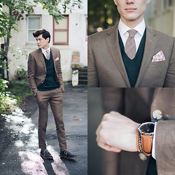 Chris Nicholas - Watch, Bracelets, P Square, Tie, Joe Fresh Sweater, Indochino Suit, Aldo Suede Wings - 174