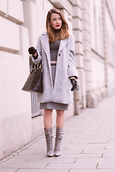 Stefanie - Missguided Grey Ankle Boots, Zara Grey Wool Coat, Primark Black Bag, Missguided Grey Jumper, H&M Grey Pencil Skirt, Aldo Black Gloves With Bows - Grey on grey on grey