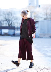 Esra E. - Stradivarius Winered Bomber Jacket, Zara Winered Culotte Pants, Zara Black Lack Leather Loafers - Marsala