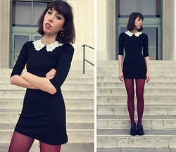 Zoë Harvey - Black Collared Dress, American Apparel Burgandy Tights, Target Platform Loafers - Arancia Rossa