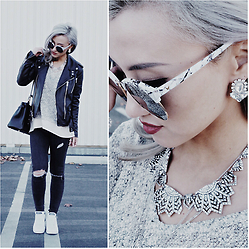 Gigi Lam - Grayson Vneck Zipper Sweater, Saint Laurent Leather Jacket, Adidas Stan Smiths, Hermes Kelly Bag - RED LIPS x MOTO