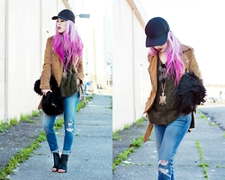 Aika Y - Forever 21 Faux Suede Jacket, Aritzia Baseball Cap, H&M Fur Bag, Prada Sunglasses, H&M Khaki Sweater, J Brand Jeans, Alysia Calf Hair Booties - Earth Colors