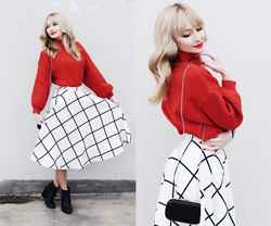 Chloe From The Woods - Sheinside Http://Chloefromthewoods.Com/Holiday/, Romwe Plaid Flare White Skirt, F&F Clutch - HOLIDAY