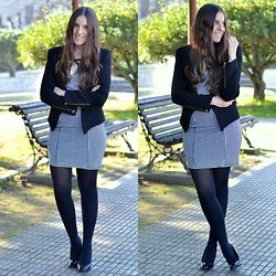 Yudani Pousada - Dressin Looks Vestido Pata De Gallo, Zara Outfits Patent Leather Heels, Sheinside Shein Black Jacket - Houndstooth