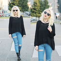 Cátia Gonçalves - Lovely Wholesale Ripped Sweater, Cndirect Ripped Jeans, Dr. Martens Docs, Cndirect Sunglasses, Cndirect Sunglasses - Take my hand We're off to Never-never Land