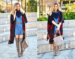 Katie Miller - Loft Striped Shawl, Zara Denim Dress, Steve Madden Otk Boots, Givenchy Leather Handbag, Rag & Bone Cheetah Belt - OTK BOOTS