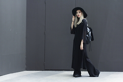 Juju Tan - Forever 21 Hat, Young Hungry Free Slit T Shirt Dress, Zara Flare Pants, Rabeanco Backpack - BL4CK