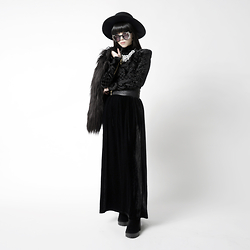 Michelle K - Asos Matador Hat, Asos Ornamental Shades, H&M Diamanté Necklace, H&M Embossed Leather Belt, Velvet Skirt, Balmain X H&M Velvet Embossed Blouse, H&M Thigh High Boots, Faux Fur Jacket - Noble Vampire