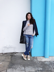 Judith Loyola - Forever 21 Blazer, Bershka Shoes, Forever 21 Turtle Neck, American Eagle Outfitters Jeans - Blue city
