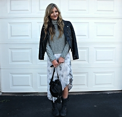 Lindsey Simon - H&M Leather Jacket, Steve Madden Boots, Forever 21 Forever21 Purse - Floral dress for the winter