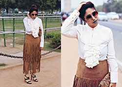 Surbhi Suri - Stalkbuylove Blouse, Romwe Fringe Skirt, Forever New Heels, Platinum Mall Bangkok Sunnies - Dare To Blue