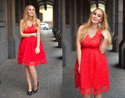 Nery Hdez - Sammydress Dress, Born Pretty Store Necklace - Lace in Red
