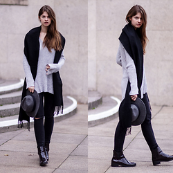 Jacky - Topshop Scarf, Asos Sweater, H&M Hat, Zara Jeans, Zara Chelsea Boots - Ribbed Knit