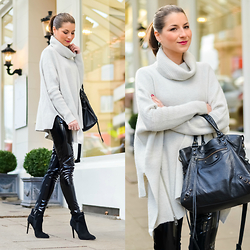Stephanie Van Klev - All Saints Oversized Turtleneck Sweater, French Connection Uk Patent Skinny Trousers, French Connection Uk Ankle Booties, Balenciaga Bag - Patent Pants & A Cuddle Sweater